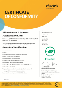 20211031 - Jean, Hook and eye, Eyelet, Snap, Rivet, Snap, Zipper - Green Leaf Cer - GLF-D13 Verified Mark CoC template - Cover Page Issue 10 -Edicate Button & Garment Accessories Mfy Ltd-1
