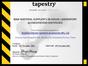 20211109 - Tapestry RMS in- house Laboratory Certificate- Edicate-1