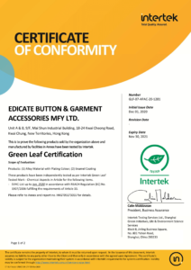 20211130 - Alloy Material with Plating Color Enamel Coating - Green Leaf Cert - GLF-07-APAC-20-1281 - Cover Page-1